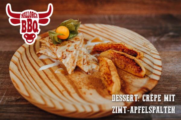 Dessert vom Grill: Crêpes mit gegrillten Apfelspalten und Zimt