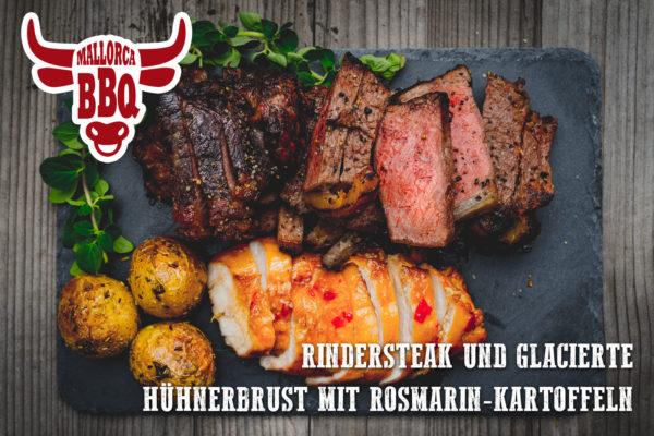 Steak und Geflügel vom Grill: saftige Steaks mit ausgesuchtem Pfeffer und glacierte Hänchenbrust