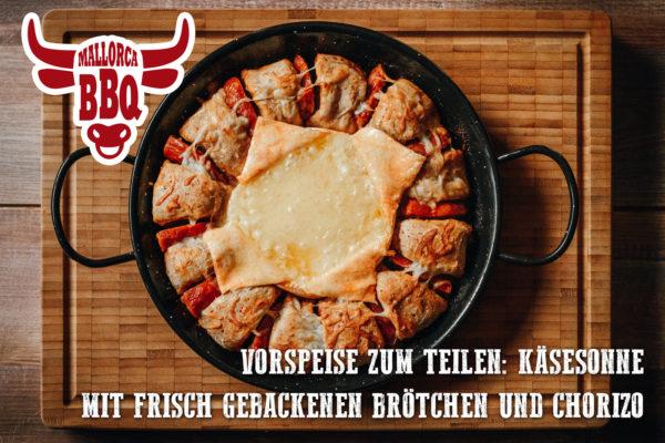 Vorspeise für 6-8 Personen: Käsesonne mit Chorizo